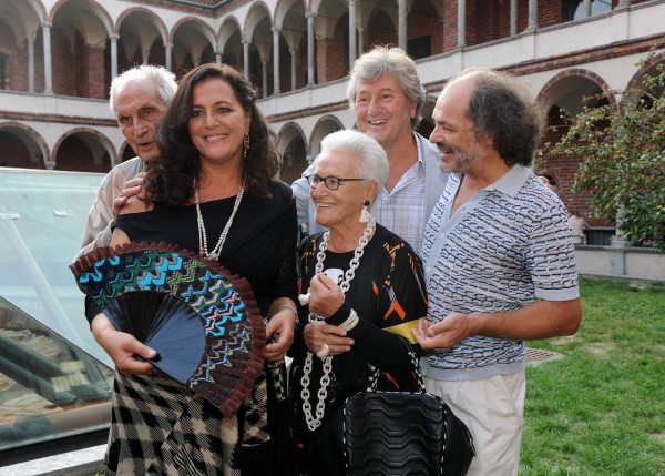 MILAN, ITALY - SEPTEMBER 25: (L-R) Italian designers Angela Missoni, Ottavio Missoni, Rosita Missoni, Vittorio Missoni and Luca Missoni attend the Missoni Spring/Summer 2012 fashion show as part Milan Womenswear Fashion Week on September 25, 2011 in Milan, Italy. (Photo by Pier Marco Tacca/Getty Images)