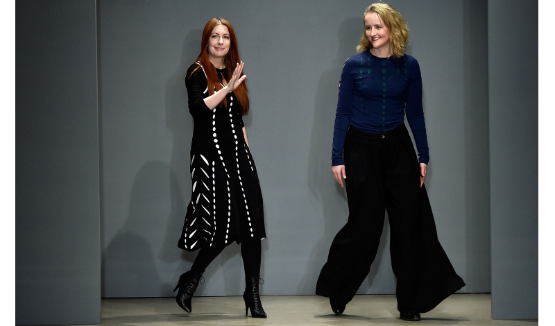 NEW YORK, NY - FEBRUARY 16:  Designers Alexa Adams (L) and Flora Gill  walk the runway at Ohne Titel fashion show during Fall 2016 New York Fashion Week at Sixty Tenth on February 16, 2016 in New York City.  (Photo by Slaven Vlasic/Getty Images)