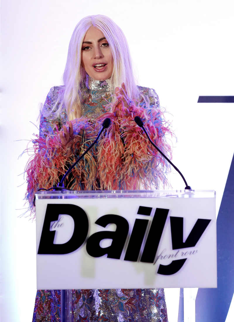 1e13b62b00b83 WEST HOLLYWOOD, CA - MARCH 20: EXCLUSIVE COVERAGE Honoree Lady Gaga accepts  the Editor of the Year award onstage during The Daily Front Row