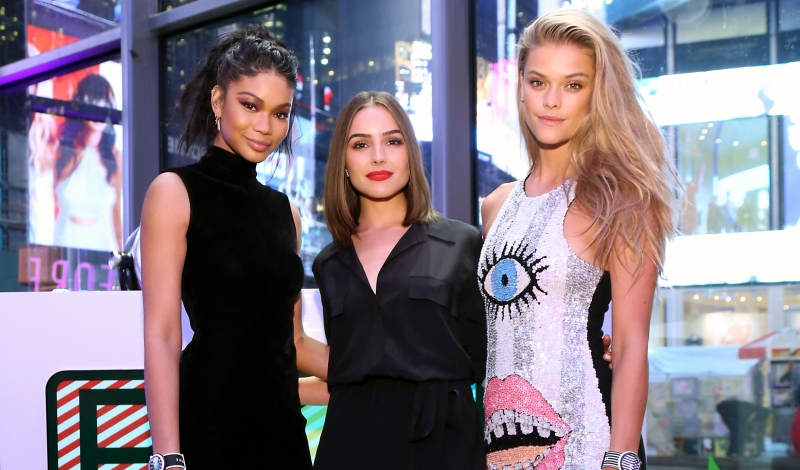 New York City -  May 3, 2016: Swatch celebrates the launch of POP Collection during the grand opening of their Times Square flagship store.  - PICTURED: Chanel Iman, Nina Agdal, Olivia Culpo wearing SWATCH - PHOTO BY: Sara Jaye Weiss