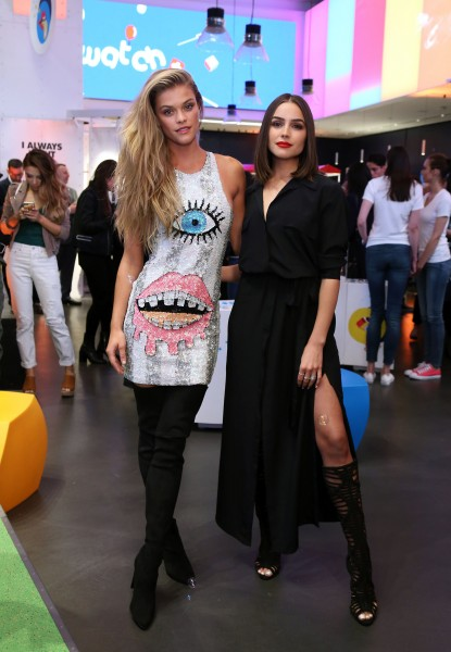 New York City - May 3, 2016: Swatch celebrates the launch of POP Collection during the grand opening of their Times Square flagship store. - PICTURED: Nina Agdal, Olivia Culpo wearing SWATCH - PHOTO BY: Sara Jaye Weiss