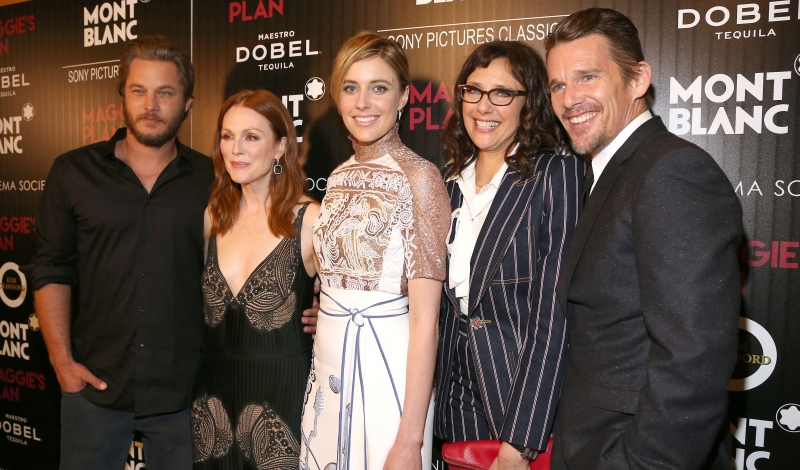 "Travis Fimmel, Julianne Moore, Greta Gerwig, Rebecca Miller, Ethan Hawke==Montblanc and The Cinema Society with Mastro Dobel & Kim Crawford Wines host a screening of Sony Pictures Classics' ""Maggie's Plan""==Landmark Sunshine Cinema, NYC==May 05, 2016==©Patrick McMullan==Photo: Sylvain Gaboury/PMC===="