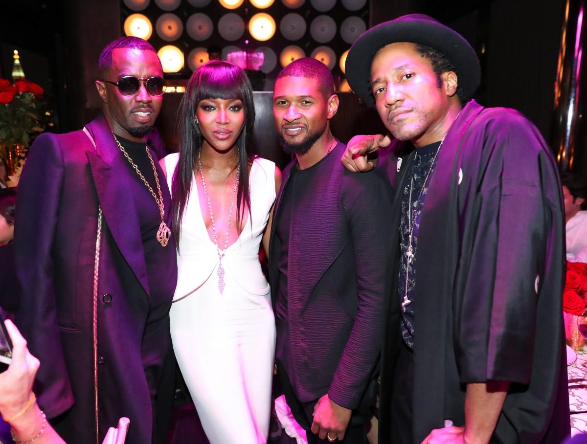 "Sean ""Diddy"" Combs, Naomi Campbell, Usher, Q-Tip"