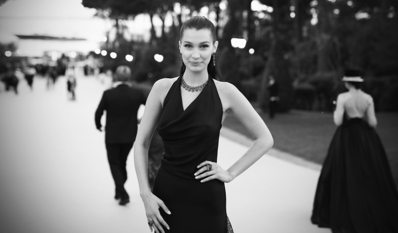 CAP D'ANTIBES, FRANCE - MAY 19:  (EDITORS NOTE: Image has been converted to black and white.)  Bella Hadid attends the amfAR's 23rd Cinema Against AIDS Gala at Hotel du Cap-Eden-Roc on May 19, 2016 in Cap d'Antibes, France.  (Photo by Andreas Rentz/WireImage)