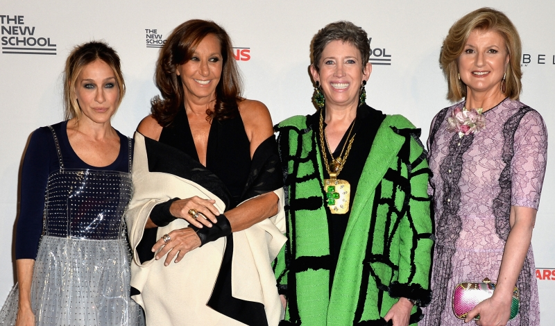 NEW YORK, NY - MAY 23:  (L-R) Sarah Jessica Parker, Donna Karan, Beth Rudin DeWoody, and Arianna Huffington attend the 2016 Parsons Benefit at Chelsea Piers on May 23, 2016 in New York City.  (Photo by Andrew Toth/Getty Images for Parsons School of Design/The New School)