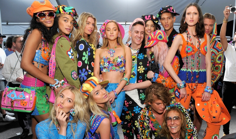 LOS ANGELES, CA - JUNE 10:  Moschino Creative Director Jeremy Scott (5th L) and models pose backstage at the Moschino Spring/Summer 17 Menswear and Women's Resort Collection during MADE LA at L.A. LIVE Event Deck on June 10, 2016 in Los Angeles, California.  (Photo by John Sciulli/Getty Images for MOSCHINO)