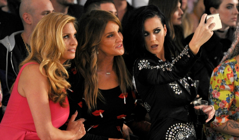 LOS ANGELES, CA - JUNE 10:  TV personality Candis Cayne, TV personality Caitlyn Jenner and Singer Katy Perry attend the Moschino Spring/Summer17 Menswear and Women's Resort Collection during MADE LA at L.A. LIVE Event Deck on June 10, 2016 in Los Angeles, California.  (Photo by Donato Sardella/Getty Images for MOSCHINO)