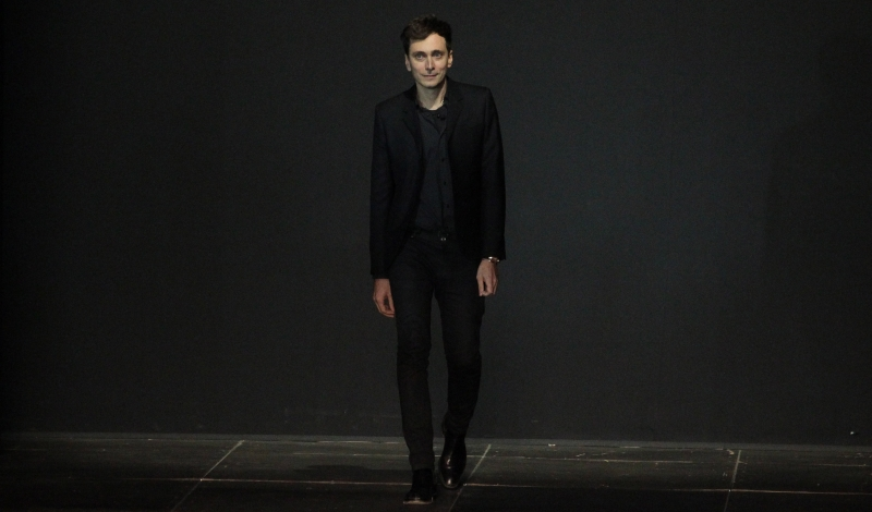 PARIS, FRANCE - OCTOBER 01: Hedi Slimane walks the runway during the Saint Laurent Spring / Summer 2013 show as part of Paris Fashion Week on October 1, 2012 in Paris, France. (Photo by Antonio de Moraes Barros Filho/WireImage)