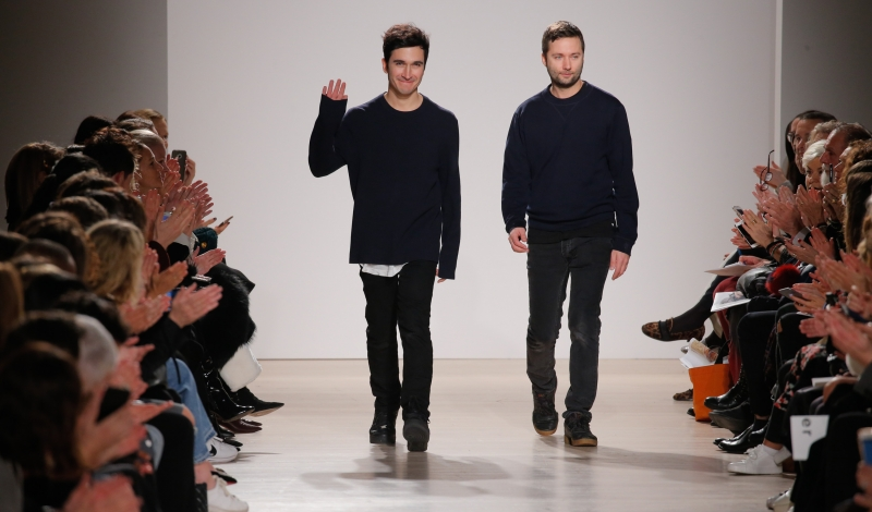 NEW YORK, NY - FEBRUARY 17:  (L-R) Designers Jack McCollough and Lazaro Hernandez walk the runway at the Proenza Schouler Collection during Fall 2016 New York Fashion Week at the Whitney Museum of American Art on February 17, 2016 in New York City.  (Photo by JP Yim/Getty Images)