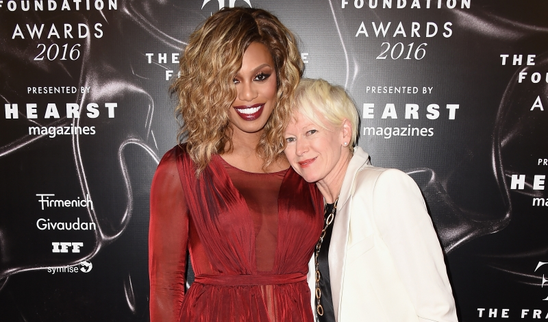 NEW YORK, NY - JUNE 07:  Laverne Cox (L) and Joanna Coles attend the 2016 Fragrance Foundation Awards presented by Hearst Magazines on June 7, 2016 in New York City.  (Photo by Nicholas Hunt/Getty Images Fragrance Foundation)