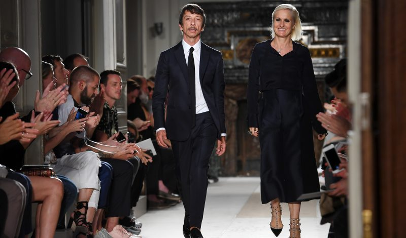 PARIS, FRANCE - JUNE 22:  Designers Pierpaolo Piccioli and Maria Grazia Chiuri walk the runway during the Valentino Menswear Spring/Summer 2017 show as part of Paris Fashion Week on June 22, 2016 in Paris, France.  (Photo by Pascal Le Segretain/Getty Images)