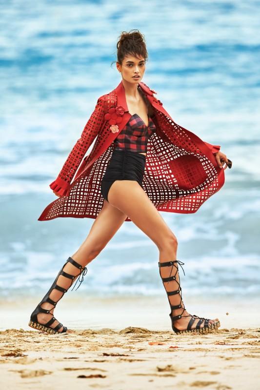 FENDI laser cut leather trench coat ($5,950), fendi.com or call (212) 897-2244 for store locations; PREEN BY THORNTON BREGAZZI Lela bodice ($1,100), similar styles at preenbythorntonbregazzi.com; CUSHNIE ET OCHS nylon mesh bikini bottoms ($450 sold as set), forward.com; LOEFFLER RANDALL gladiator sandals ($375), loefflerrandall.com