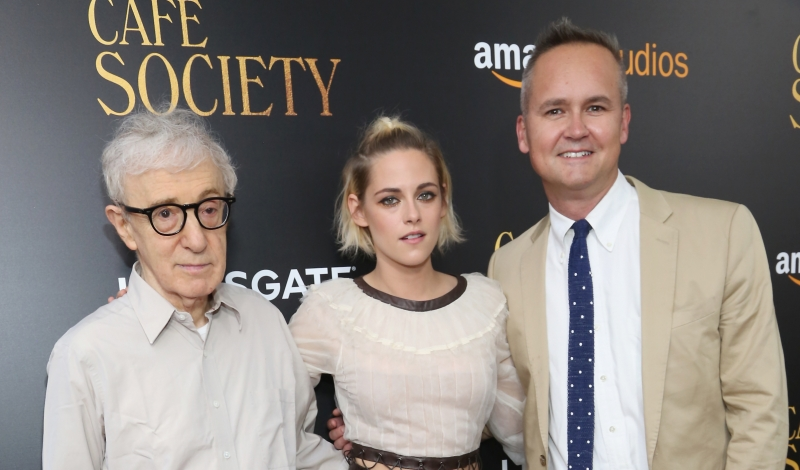 "Woody Allen, Kristen Stewart, Roy Price==Amazon & Lionsgate with The Cinema Society Host the New York Premiere of ""Cafe Society""==The Paris Theatre, NYC==July 13, 2016==©Patrick McMullan==Photo - Sylvain Gaboury/PMC== ==Woody Allen; Kristen Stewart; Roy Price"
