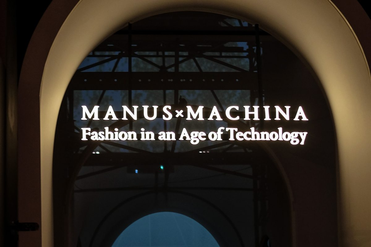 "NEW YORK, NY - MAY 02: A view of the entrance sign at the ""Manus x Machina: Fashion in an Age of Technology"" exhibit at the Metropolitan Museum of Art on May 2, 2016 in New York City. (Photo by D Dipasupil/FilmMagic)"