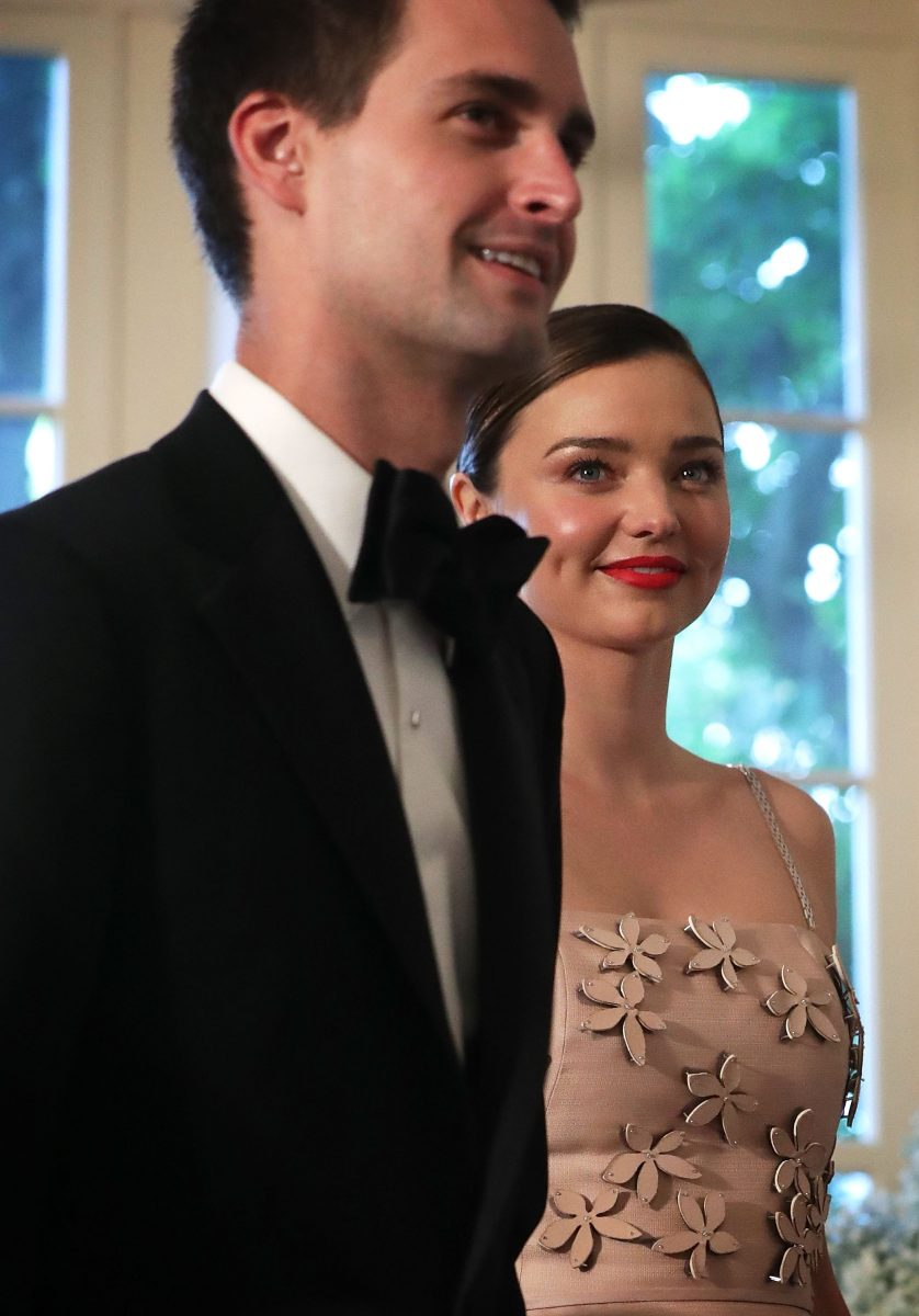 WASHINGTON, DC - MAY 13: Snapchat CEO Evan Spiegel and his model girlfriend Miranda Kerr arrive at a Nordic State Dinner May 13, 2016 at the White House in Washington, DC. President Barack Obama and the first lady are hosting the heads of the five Nordic nations for a U.S.-Nordic Leaders Summit. (Photo by Alex Wong/Getty Images)