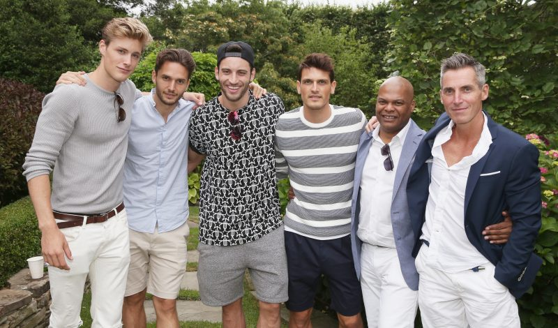 WATER MILL, NY - JULY 09:  (L-R) Models  Kevin Hubsmith, guest, Kevin Sanpaio, Sacha Legrand, Earnest WilIiams and Bill Wackermann attend Daily Front Row's Boys of Summer party  on July 9, 2016 in Water Mill, New York.  (Photo by Mireya Acierto/Getty Images)