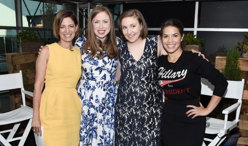 PHILADELPHIA, PA - JULY 26: Cindi Leive, Chelsea Clinton, Lena Dunham and America Ferrera the Glamour And Facebook Host Conversation With Cindi Leive, Chelsea Clinton, Lena Dunham, America Ferrera At The Democratic National Convention on July 26, 2016 in Philadelphia, Pennsylvania. (Photo by Nicholas Hunt/Getty Images for Glamour)