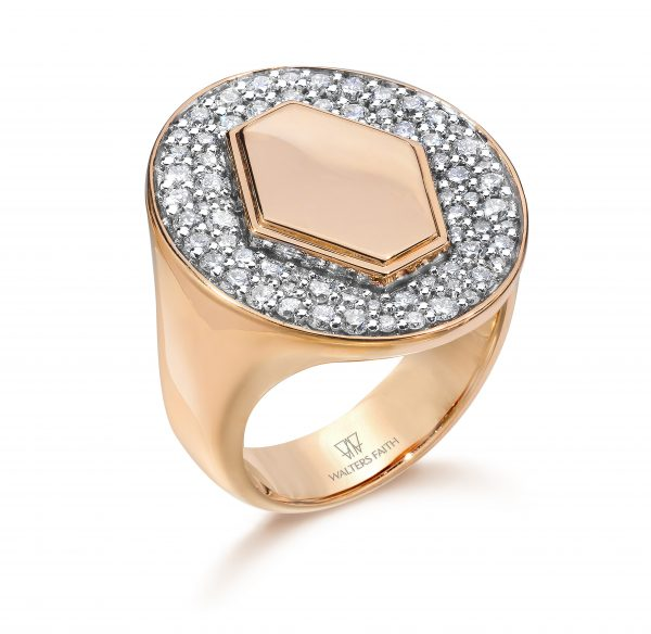 R005-RGWD _ 18K Rose Gold and Diamond Signet Ring