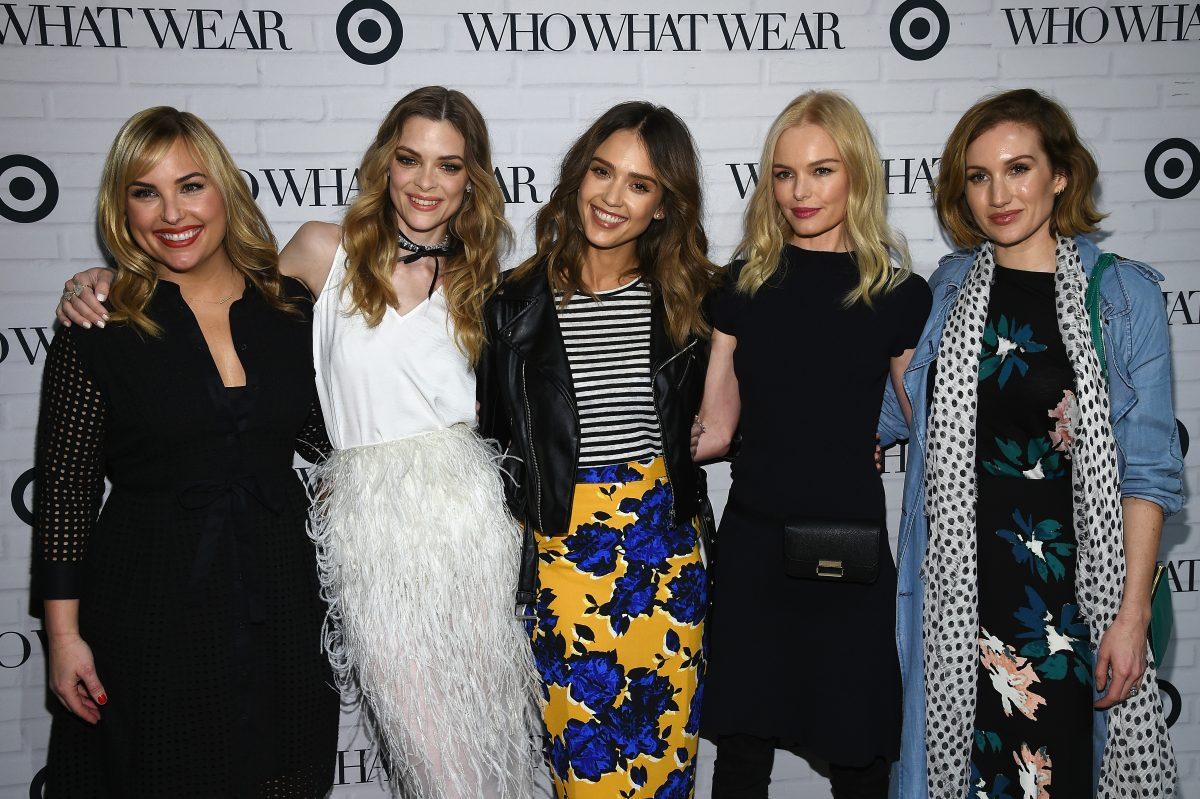 (L-R) Hillary Kerr of Who What Wear, Jaime King, Jessica Alba and Kate Bosworth and Katherine Power of Who What Wear attend Who What Wear x Target launch party (Photo by Dimitrios Kambouris/Getty Images for Target)