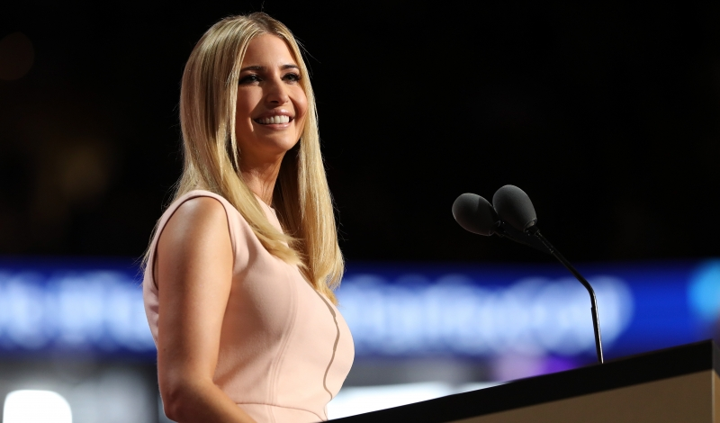 CLEVELAND, OH - JULY 21:  Ivanka Trump delivers a speech during the evening session on the fourth day of the Republican National Convention on July 21, 2016 at the Quicken Loans Arena in Cleveland, Ohio. Republican presidential candidate Donald Trump received the number of votes needed to secure the party's nomination. An estimated 50,000 people are expected in Cleveland, including hundreds of protesters and members of the media. The four-day Republican National Convention kicked off on July 18.  (Photo by Joe Raedle/Getty Images)