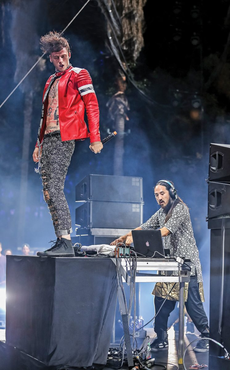LOS ANGELES, CA - AUGUST 31: Rapper Machine Gun Kelly (L) and DJ Steve Aoki perform during day 2 of the Made in America Festival at Los Angeles Grand Park on August 31, 2014 in Los Angeles, California. (Photo by Chelsea Lauren/WireImage)