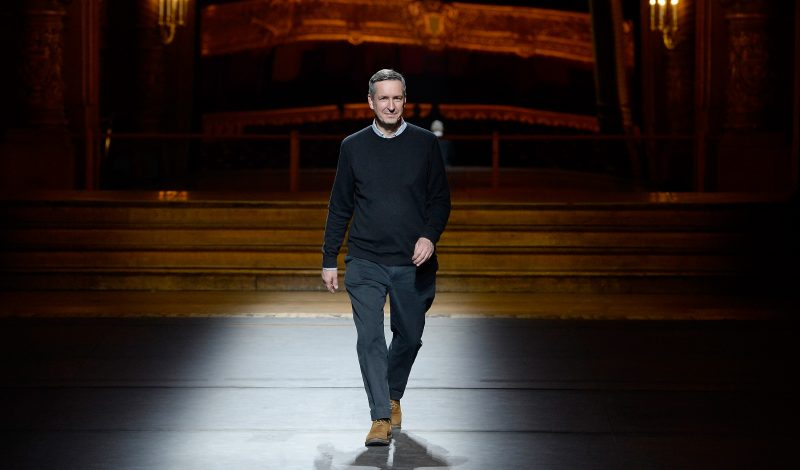 PARIS, FRANCE - JANUARY 21:  Designer Dries Van Noten acknowledges the audience during the Dries Van Noten Menswear Fall/Winter 2016-2017 show as part of Paris Fashion Week on January 21, 2016 in Paris, France.  (Photo by Kristy Sparow/Getty Images)