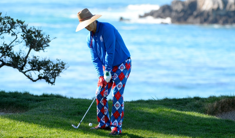 PEBBLE BEACH, CA - FEBRUARY 13:  Bill Murray plays a shot from the rough near the fourth green during round three of the AT&T Pebble Beach National Pro-Am at the Pebble Beach Golf Links on February 13, 2016 in Pebble Beach, California.  (Photo by Robert Laberge/Getty Images)