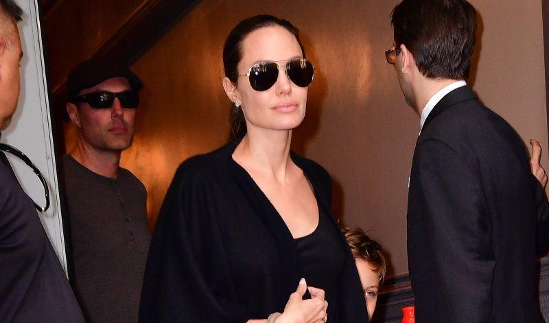 NEW YORK, NY - JUNE 19:  James Haven and Angelina Jolie leave Broadway musical Hamilton at Richard Rodgers Theatre on June 19, 2016 in New York City.  (Photo by James Devaney/GC Images)