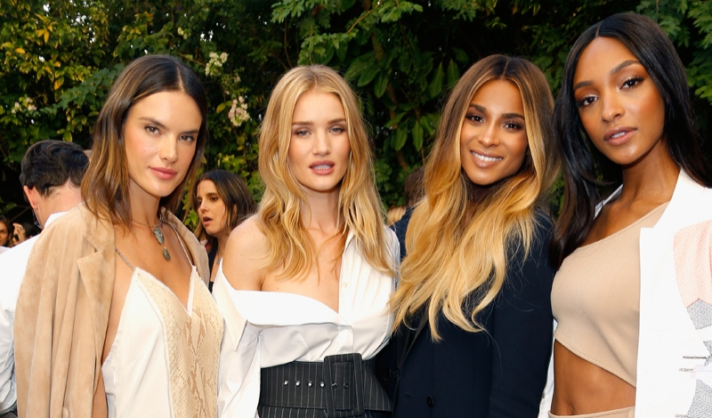 LOS ANGELES, CA - OCTOBER 26:  (L-R) Models Alessandra Ambrosio, Rosie Huntington-Whiteley, singer Ciara and model Jourdan Dunn at the CFDA/Vogue Fashion Fund Show and Tea presented by kate spade new york at Chateau Marmont on October 26, 2016 in Los Angeles, California.  (Photo by Jeff Vespa/Getty Images for CFDA/Vogue )