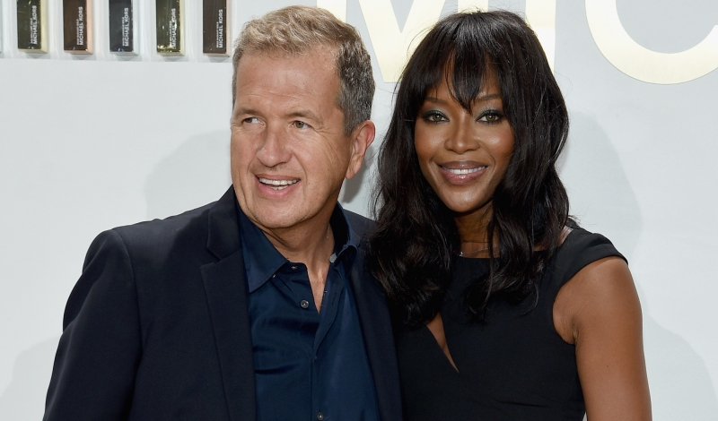 NEW YORK, NY - SEPTEMBER 13:  Mario Testino and Naomi Campbell attend the new Gold Collection fragrance launch hosted by Michael Kors featuring Duran Duran at Top of The Standard Hotel on September 13, 2015 in New York City.  (Photo by Dimitrios Kambouris/Getty Images for Michael Kors)