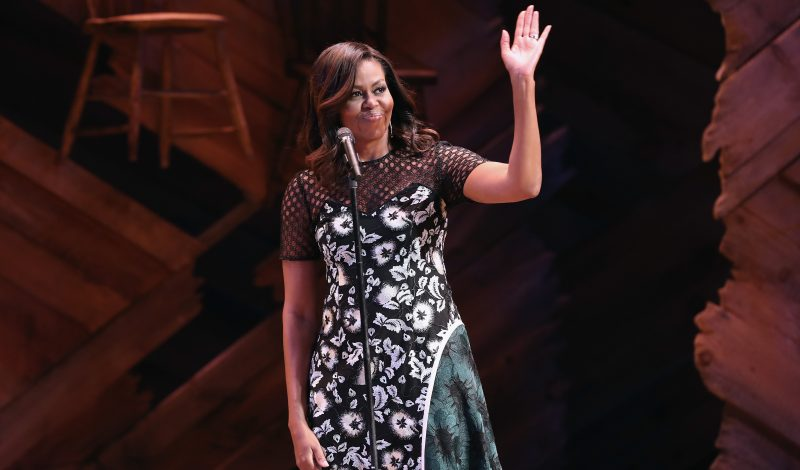 NEW YORK, NY - SEPTEMBER 19:  U.S. First Lady Michelle Obama greets fellow first ladies, students and guests at Broadway's Jacobs Theater on September 19, 2016 in New York City. The event, called the United Nations General Assembly at Broadway's Jacobs Theater, showcased performances by The Color Purple, Waitress, Beautiful, and Wicked. Late Show host Stephen Colbert emceed the show. The purpose of the event was to continue to raise awareness for the Let Girls Learn initiative, launched by  President Obama and First Lady in March 2015, to help adolescent girls around the world go to school and stay in school.  (Photo by John Moore/Getty Images)