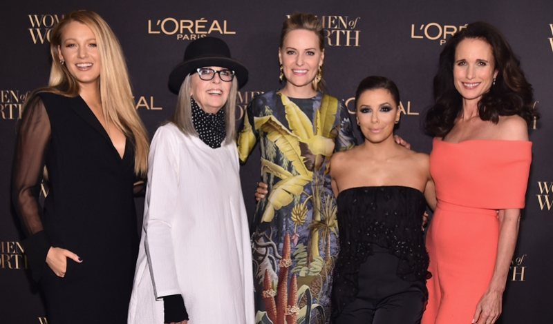 NEW YORK, NY - NOVEMBER 16:  Blake Lively, Diane Keaton, Aimee Mullins, Liya Kebede, Eva Longoria, Andie MacDowell, Arianna Huffington and Tamron Hall attend the  L'Oreal Paris Women of Worth Celebration 2016 Arrivals on November 16, 2016 in New York City.  (Photo by Michael Loccisano/Getty Images for L'Oreal) *** Local Caption *** Blake Lively;Diane Keaton;Aimee Mullins;Eva Longoria
