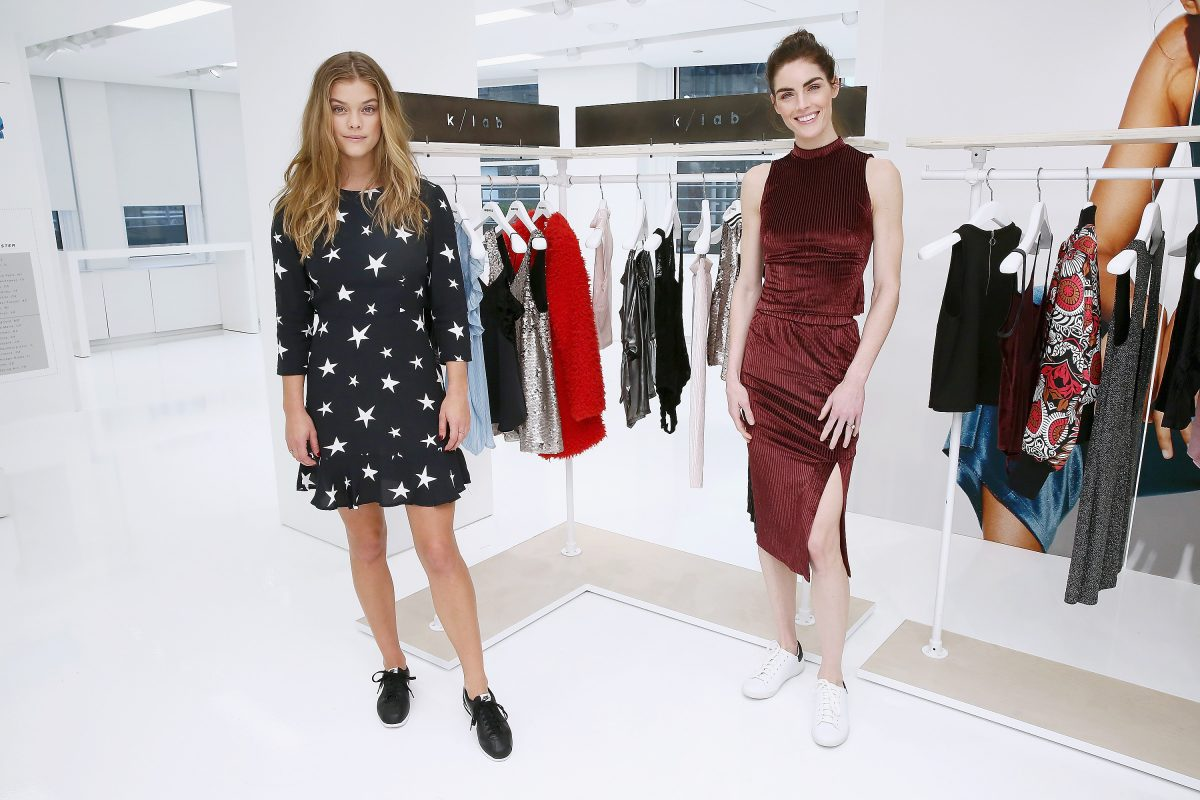 NEW YORK, NY - NOVEMBER 03: Models Nina Agdal and Hilary Rhoda pose for a photo for Kohl's launch of the k/lab Capsule on November 3, 2016 in New York City. (Photo by Astrid Stawiarz/Getty Images for Kohl's) *** Local Caption *** Nina Agdal;Hilary Rhoda