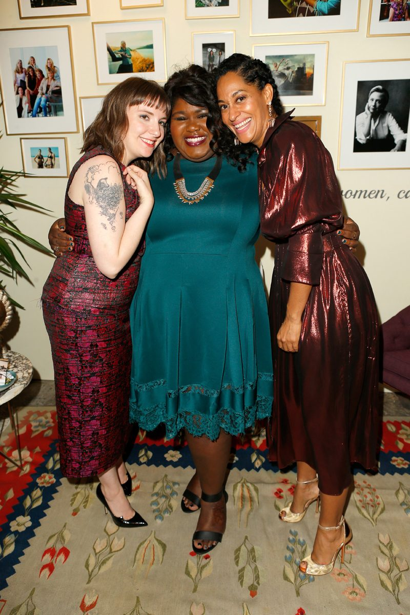 LOS ANGELES, CA - NOVEMBER 14: (L-R) Actress/writer Lena Dunham, actress Gabourey Sidibe, and host Tracee Ellis Ross pose in the green room at Glamour Women Of The Year 2016 at NeueHouse Hollywood on November 14, 2016 in Los Angeles, California. (Photo by Jeff Vespa/Getty Images for Glamour) *** Local Caption *** Tracee Ellis Ross;Gabourey Sidibe;Lena Dunham