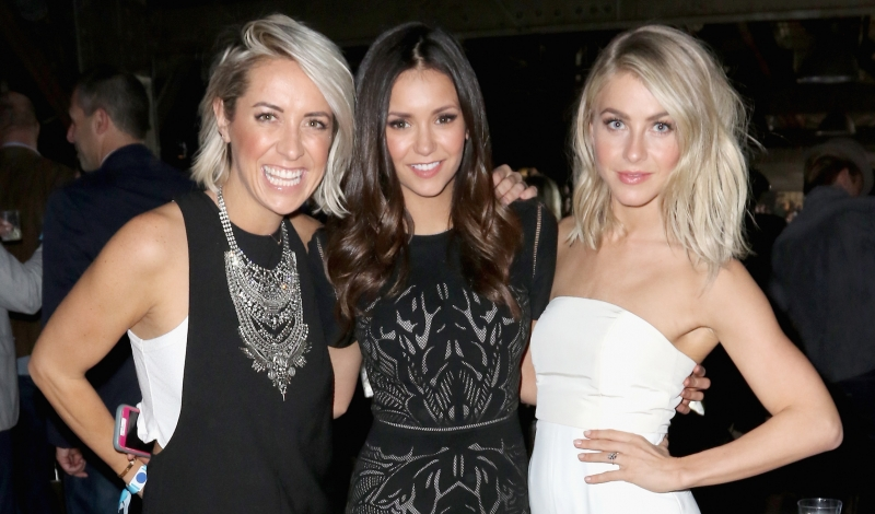 SAN FRANCISCO, CA - FEBRUARY 06:  (L-R) Hairstylist Riawna Capri, actresses Nina Dobrev and Julianne Hough attend the DirecTV and Pepsi Super Saturday Night featuring Red Hot Chili Peppers at Pier 70 on February 6, 2016 in San Francisco, California.  (Photo by John Parra/Getty Images for DirecTV)
