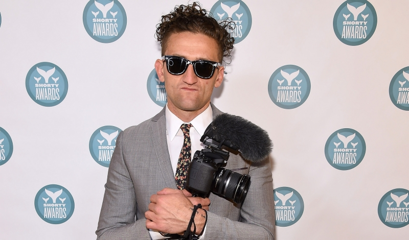 NEW YORK, NEW YORK - APRIL 11:  Casey Neistat poses backstage at The 8th Annual Shorty Awards at The Times Center on April 11, 2016 in New York City.  (Photo by Gary Gershoff/Getty Images for The Shorty Awards )