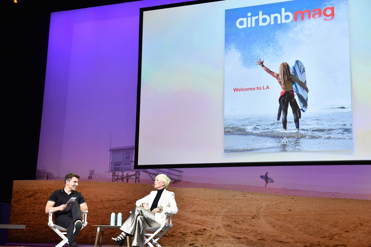 LOS ANGELES, CA - NOVEMBER 19: Brian Chesky, co-founder & Chief Executive Officer, Airbnb (L) Joanna Coles, Chief Content Officer, Hearst Magazines speak onstage at Cultivating the Art of Taste & Style at the Los Angeles Theatre during Airbnb Open LA - Day 3 on November 19, 2016 in Los Angeles, California. (Photo by Mike Windle/Getty Images for Airbnb)