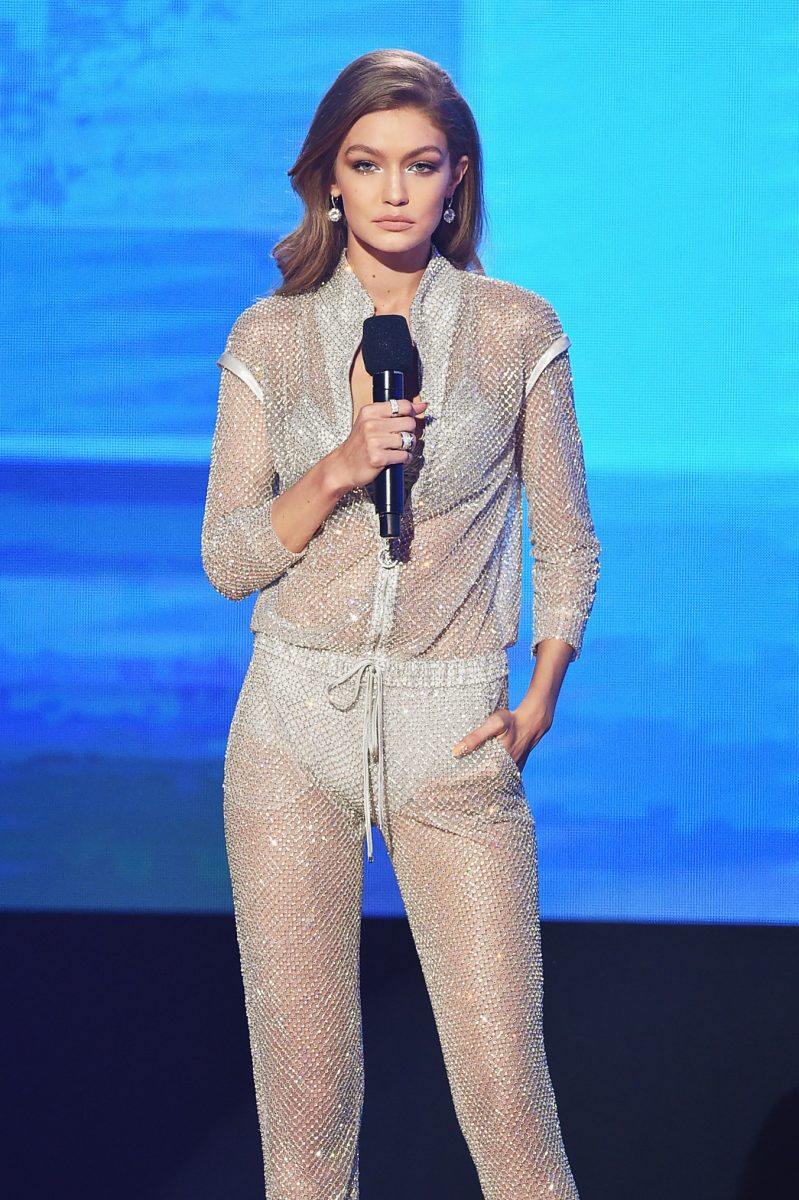 LOS ANGELES, CA - NOVEMBER 20: Co-host Gigi Hadid speaks onstage during the 2016 American Music Awards at Microsoft Theater on November 20, 2016 in Los Angeles, California. (Photo by Kevin Winter/Getty Images)