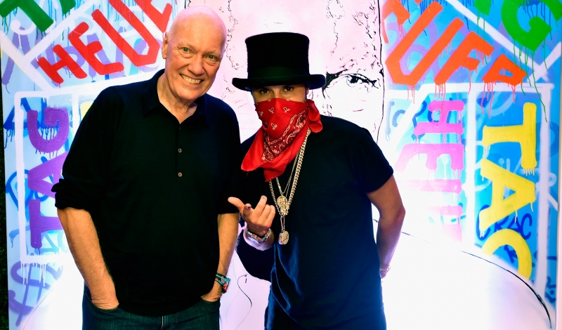 MIAMI, FL - NOVEMBER 29: TAG Heuer CEO Jean-Claude Biver and Artist Alec Monopoly at TAG Heuer Miami Design District on November 29, 2016 in Miami, Florida.  (Photo by Eugene Gologursky/Getty Images for TAG Heuer)