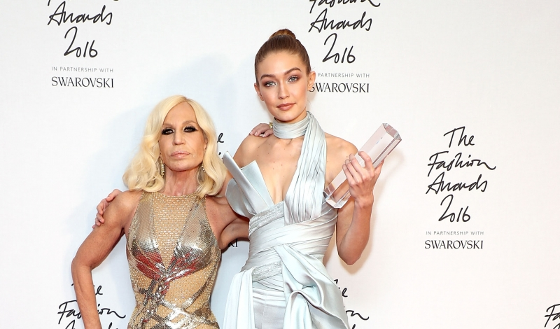 LONDON, ENGLAND - DECEMBER 05:  Donatella Versace with Gigi Hadid, winner of the International Model award, pose backstage at The Fashion Awards 2016 at Royal Albert Hall on December 5, 2016 in London, England.  (Photo by Mike Marsland/Mike Marsland/WireImage)