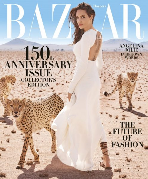 Angelina Jolie Shares Her 'Harper's Bazaar' Cover with Three Rescue Cheetahs!