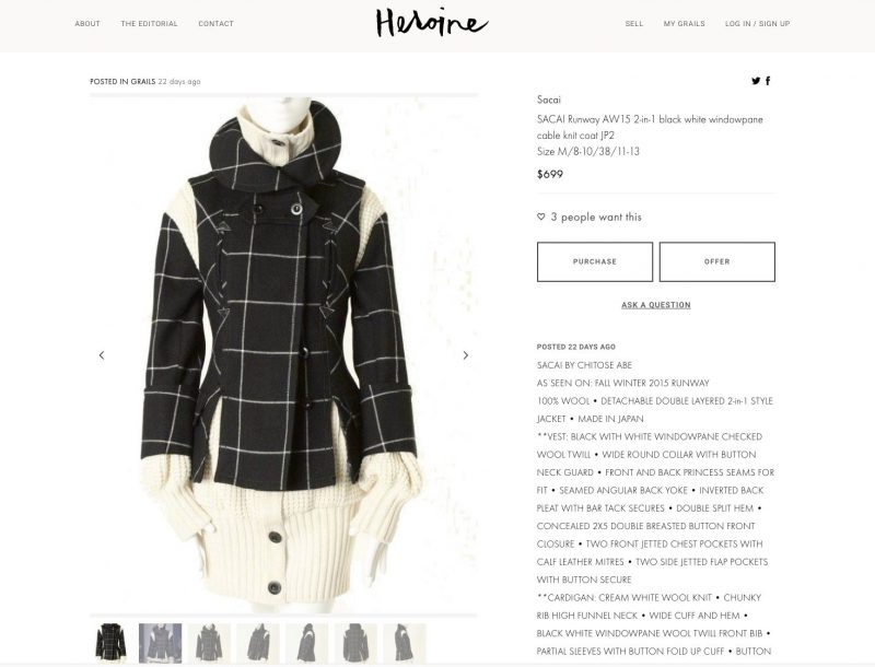 Check Out Heroine A New Resale Site For High End Designer Clothing Daily Front Row