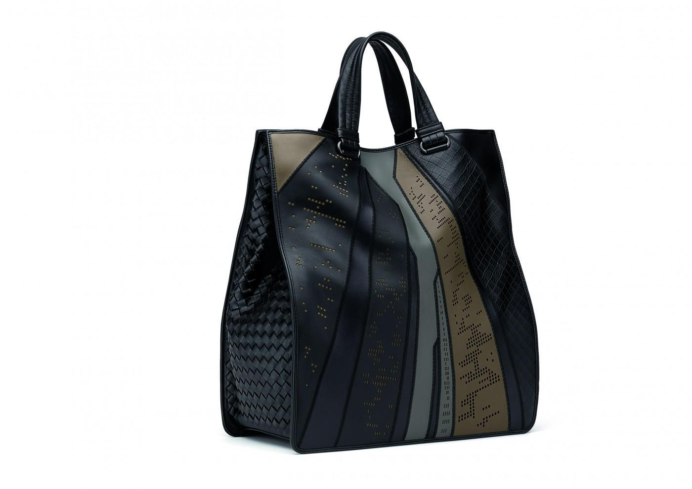 ... uses a special inlay leather work that s cut and pieced together by hand  for a subtle representation of the city s grid. The Intrecciato Prospect bag  ... fae837115e708
